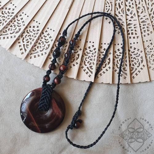 Halskette mit rotem Tigerauge - Makramee - Koboldmakielfe