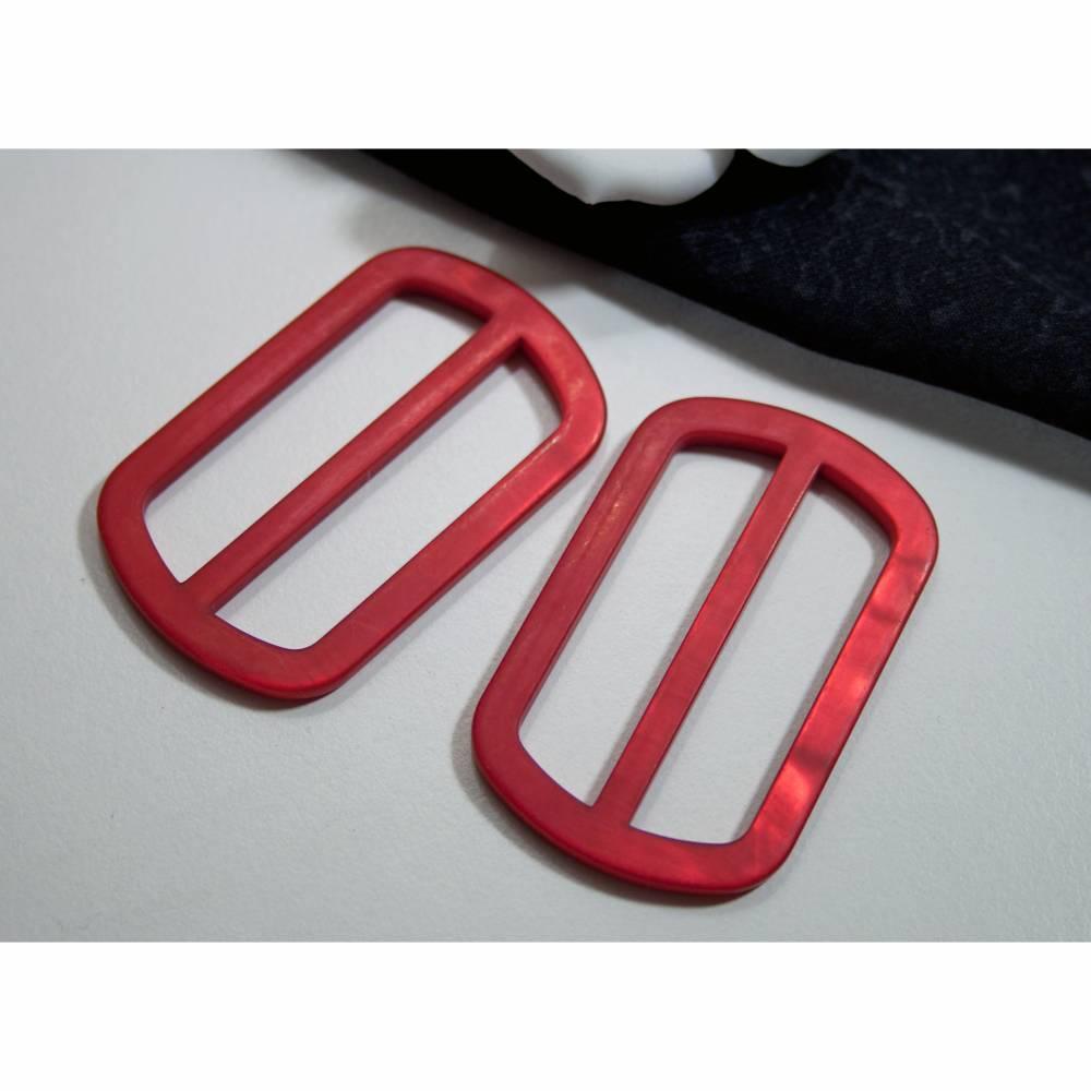 2 Schnallen 40mm rot Gürtelschnallen, Mantelschnalle, Gürtelschließe, Kunststoffschnalle Trödel Dings da Bild 1