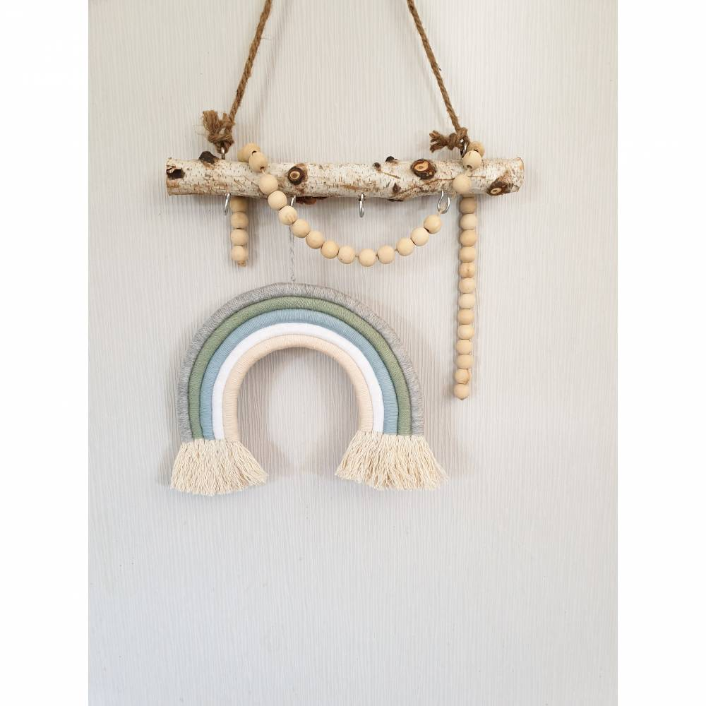"Makramee Regenbogen ""Mint blau"" Wandbehang Deko Kinderzimmer fünfreihig   Bild 1"