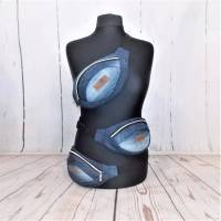 Blaue Hüfttasche ,Bauchtasche, Jeans Upcycling Bild 1