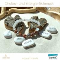 Shaukat-Armband aus der exklusiven anima mea Kollektion – Neue Energie und Tatendrang, weiß, braun, braun-marmoriert, silber Bild 1