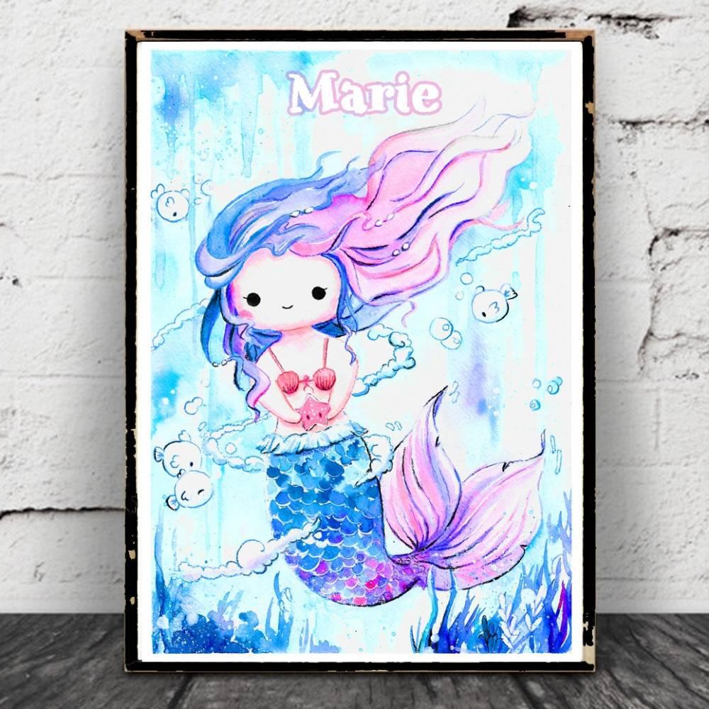 Meerjungfrau Aquarell Poster, personalisierbar,kawaii Bild, Print, Druck, Nixe Ozean - Maritim, Mermaid, Arielle Bild 1