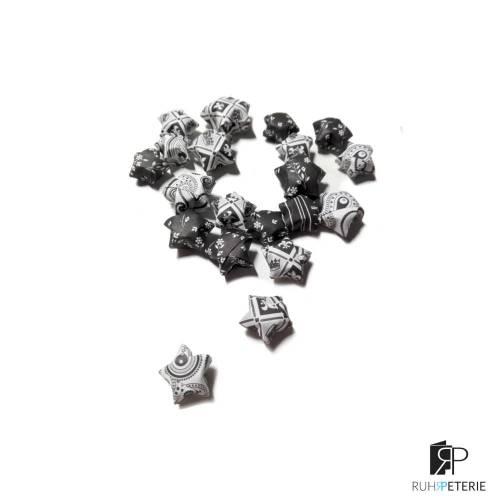 20 handgemachte Papiersterne 3D schwarz weiß, Konfetti
