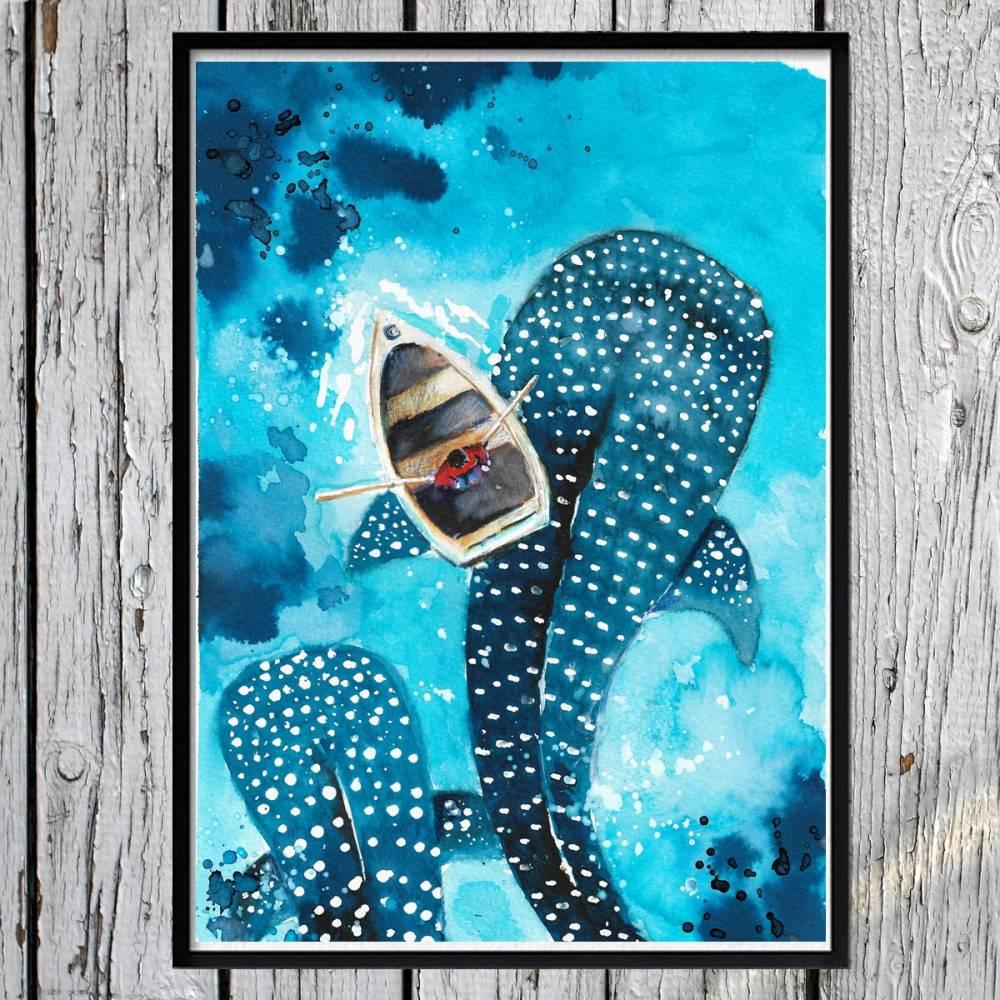 Walhaie Aquarell, Walbild-  Handgemalt, Wale Poster, Druck - Haibild Bild 1
