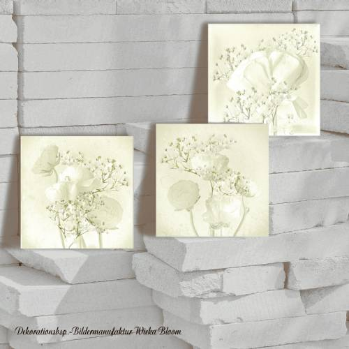 Triptychon RANUNKELN NOSTALGICA Bild auf Holz Leinwand Print Wanddeko Landhausstil Vintage Shabby Chic handmade kaufen