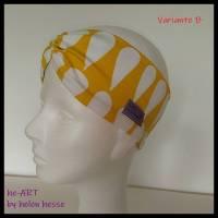 """Stirnband mit Raffung """"Tropfen"""" - Größe M / KU 56 - in gelb-weiß aus Jerseystoff genäht, von he-ART by helen hesse Bild 1"""