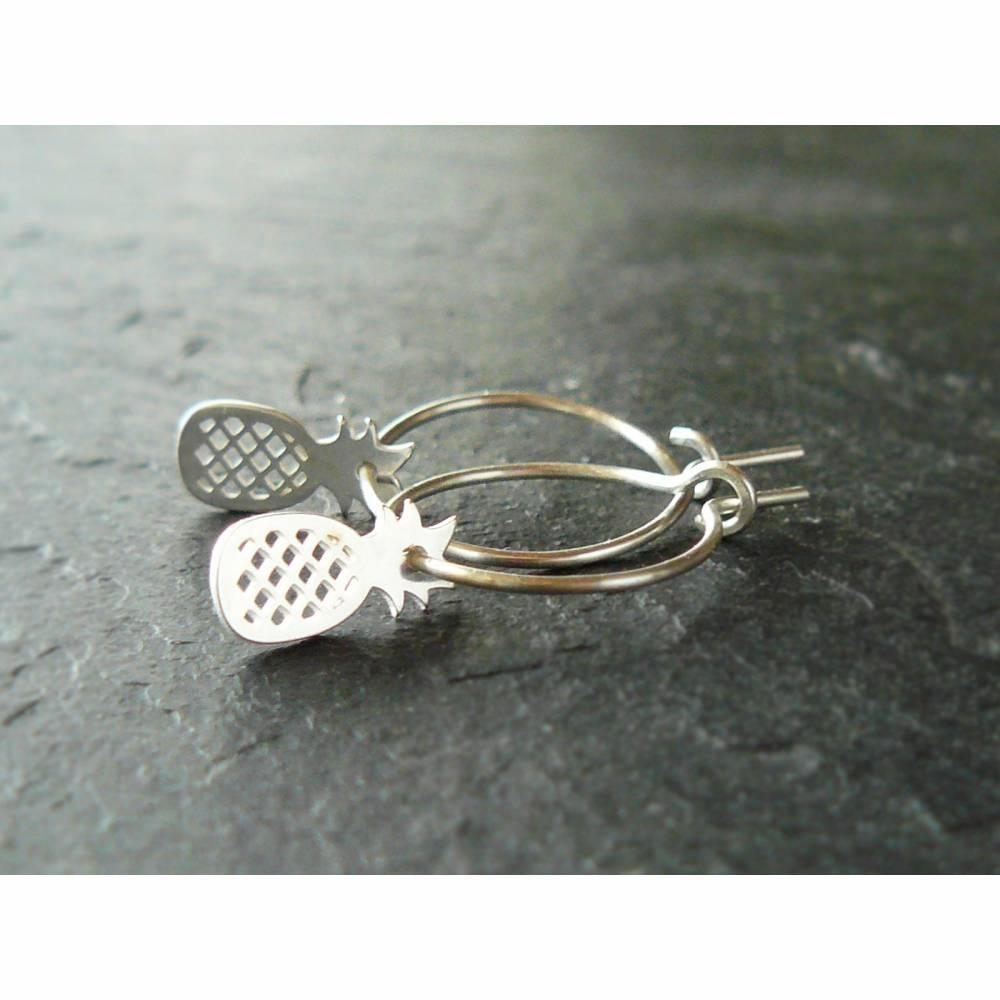 925 Sterling Silber Creolen mit Ananas Anhänger, Silberohrringe, kleine Creolen, Ohrringe 925 Silber, minimalistische Ohrringe, Boho Ohrringe Bild 1