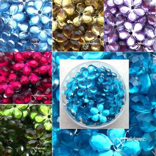 Aufnähsteine   Spiegelblüten   Spiegelblumen   ~ 30g   Ø 12 mm   ~ 270 Stück   Kunststoff   Farbmix   MIX B