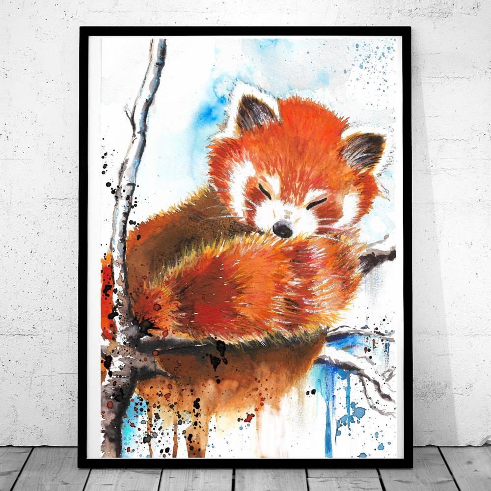 Roter Panda Aquarell Poster,  Print, Kinderzimmer, Bild, Handgemalt, Druck Bild 1