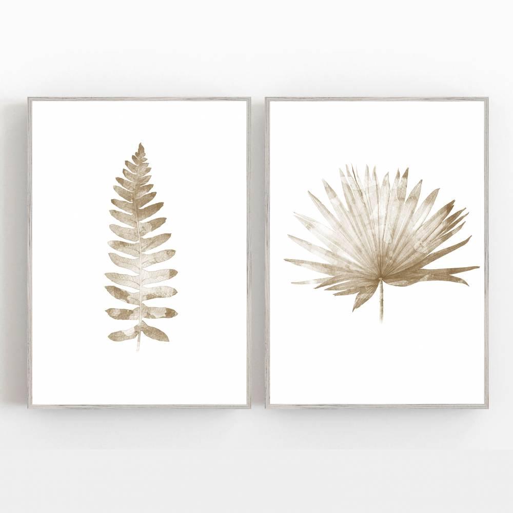 Set von zwei botanischen Kunstdrucken, Farnblatt zusammen mit Palmenblatt, Beige Schlafzimmer Wandkunst Kunstdrucke Bild 1