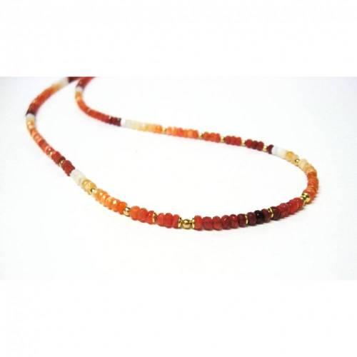 Opal Kette, Feueropal Edelsteinkette/ Collier mit Silber 925 vergoldet, Geschenk, Geburtstag, Handmade