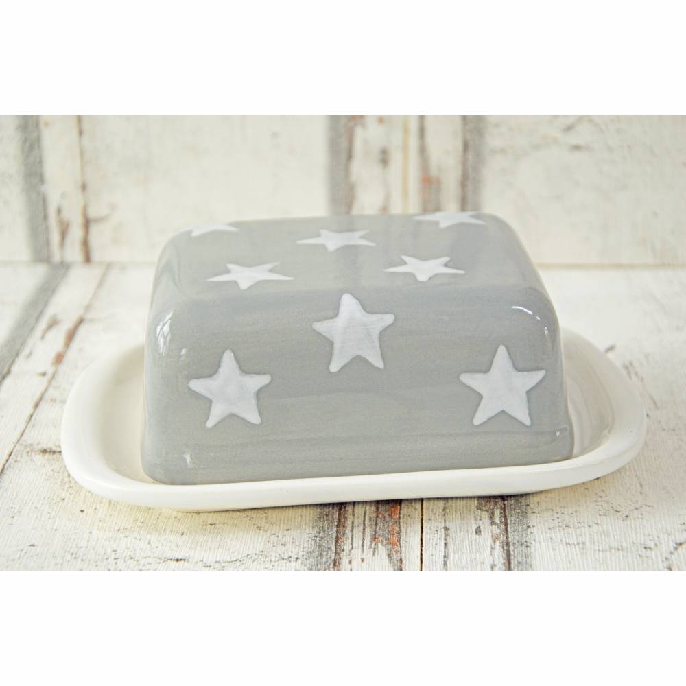 Butterdose, Sterne, Keramik handbemalt Bild 1