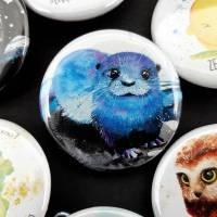 Otter Button - Anstecker - kawaii - Marder Frettchen - Brosche - Seeotter Anstecknadel Buttons Pin Bild 1