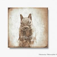 EICHHÖRNCHEN Waldtiere Vintage Bild auf Holz Leinwand Print Wanddeko Landhausstil Shabby Chic handmade kaufen Bild 4