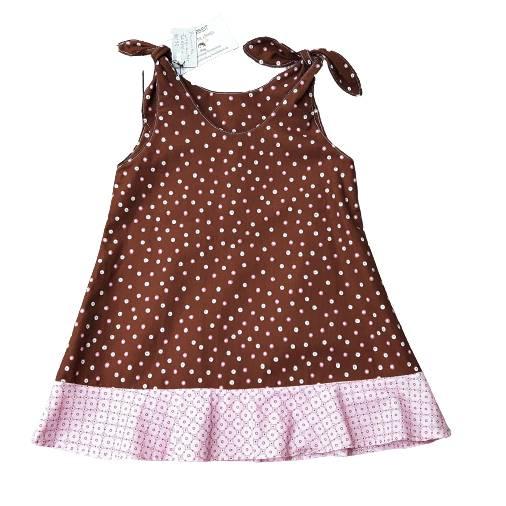 Mädchentunika Tunikakleid Größe 86/92 - rosa Punkte auf braun  Bild 1