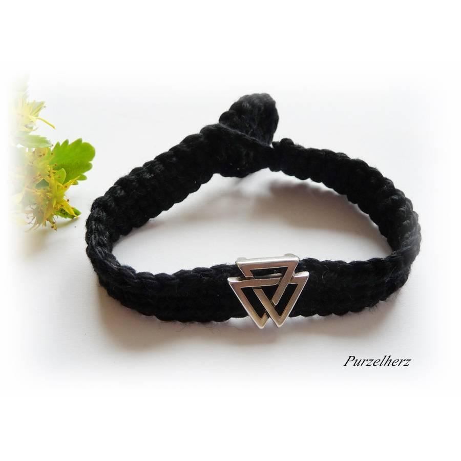 Gehäkeltes Armband mit Metallperle - Dreiecke - Häkelarmband -  schwarz, silber Bild 1