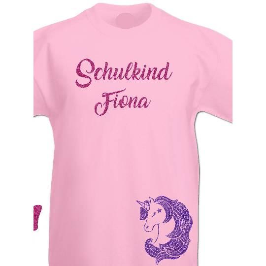 T-Shirt zur Einschulung mit Einhorn Schulkind erstklassig mit Name Bild 1