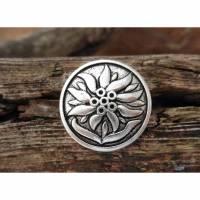 5 Metallknöpfe Edelweiß 20mm Stegknöpfe rund Blumenknöpfe Trachtenknöpfe Metallknopf Bild 1