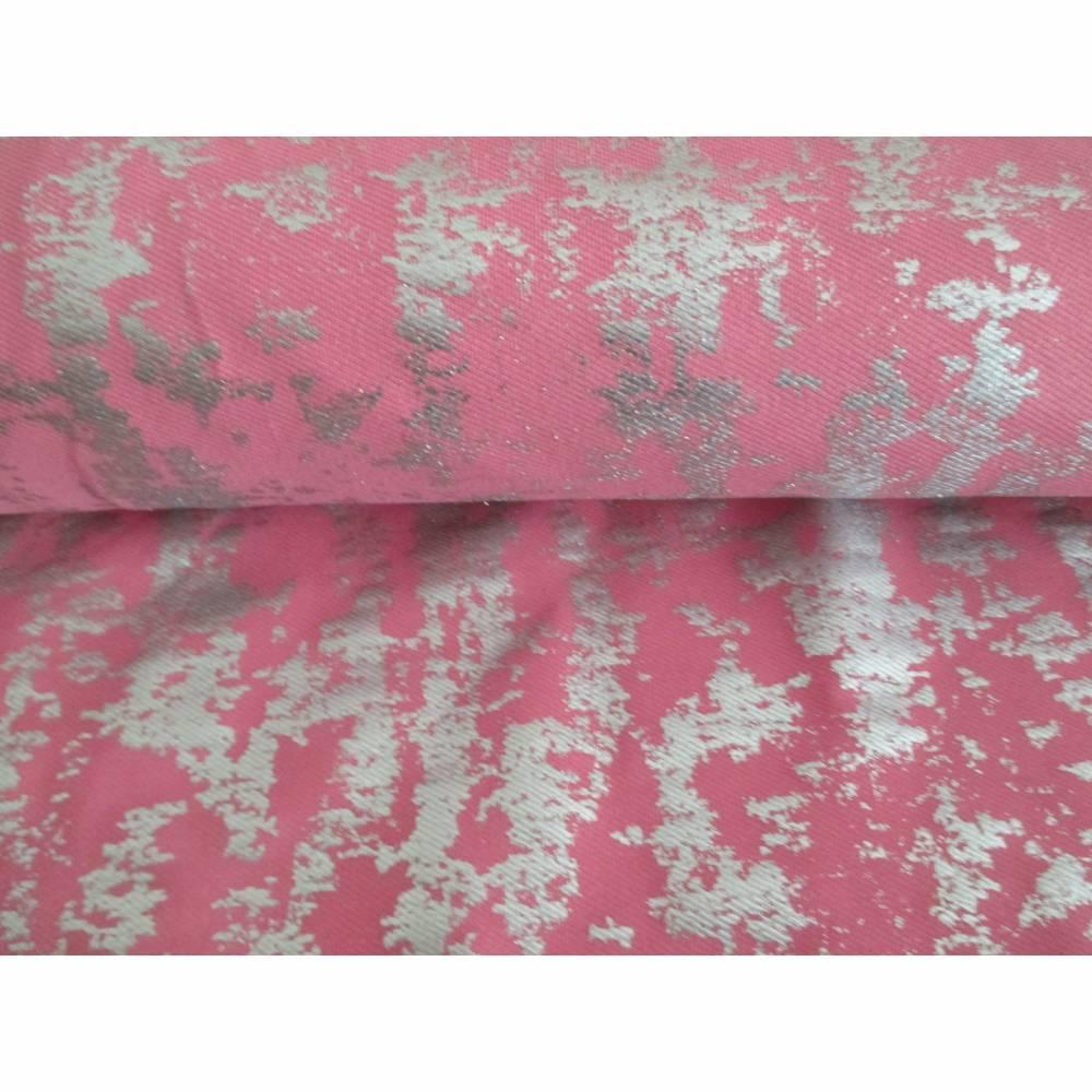 Jersey  Baumwoll - Jersey GLITZER  Elastic Twill Foliendruck rosa - silber (1m/12,-€) Bild 1