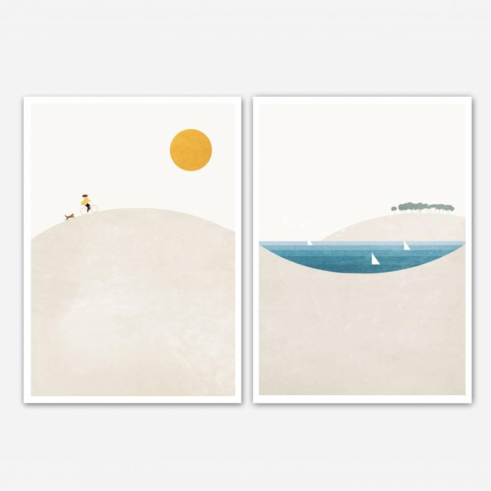 Set von zwei Sommer Kunstdrucken, skandynavische Wandkunst, Wohnzimmer Wandkunst, Wohnzimmer Kunstdrucke Bild 1