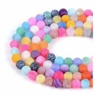 Drachen Achat Perlen 8 mm Mix Farbe gefrostet 1 Strang Bild 1