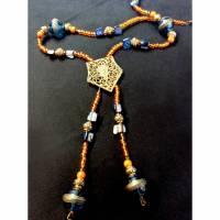 """Vintage Upcycling Collier """"die indische Prinzessin"""" Vintage Metall-Elemente, Vintage Perlen blau, Perlmuttnuggets blau, Rocailles orange Bild 1"""