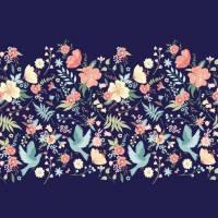 Jersey Flower Birds nachtblau Bild 1