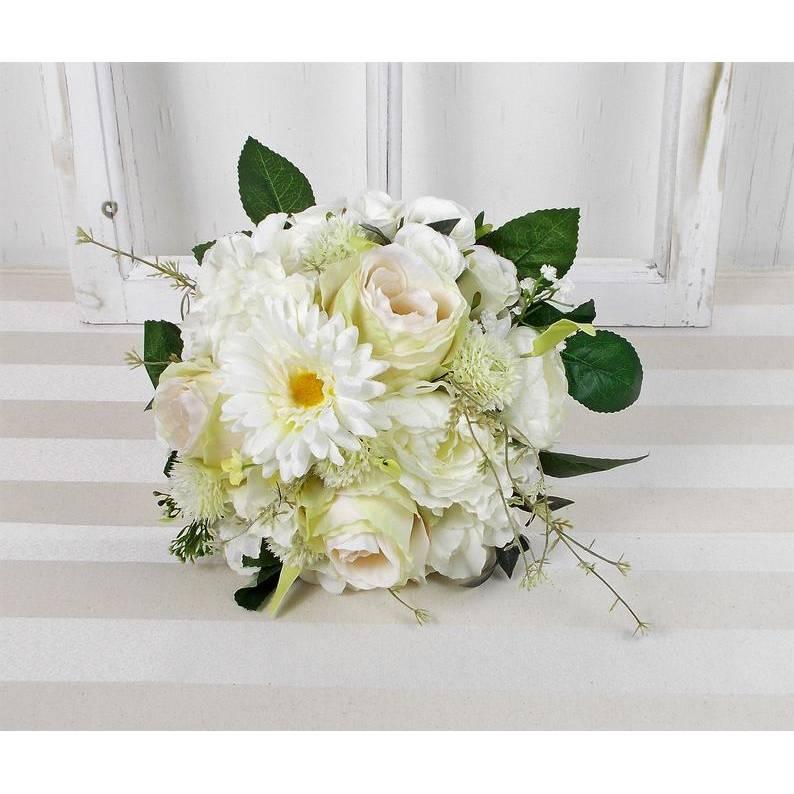 Brautstrauß künstlich, weiß grün, Rosen und Gerbera, Brautbouquet Bild 1