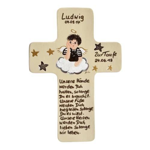 Schutzengelkreuz für Jungs Taufkreuz, Kinderkreuz Geschenk zur Taufe / Geburt