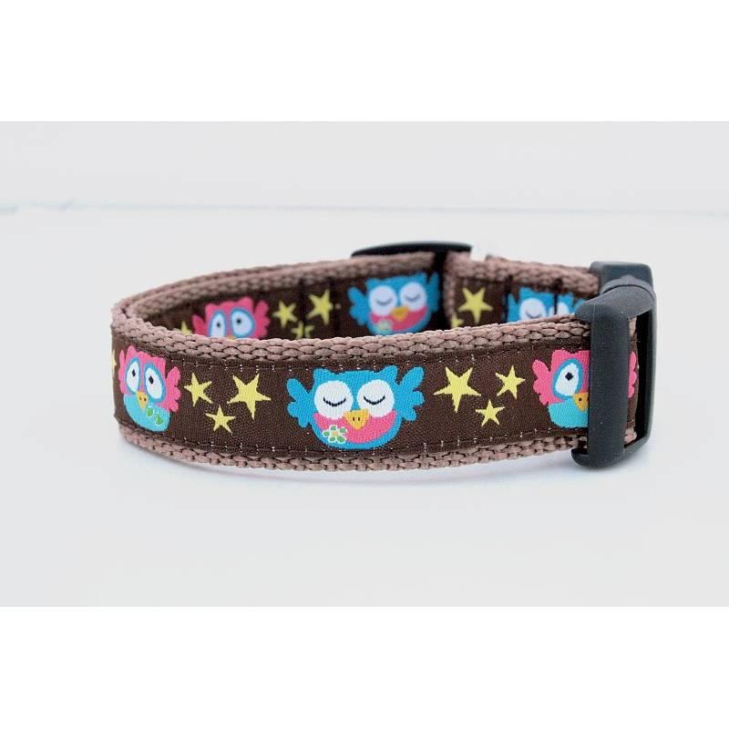 Welpenhalsband »Eulen mit Sternen« ohne Unterfütterung (größere Verstellbarkeit) aus der Halsbandmanufaktur von dogs & paw Bild 1