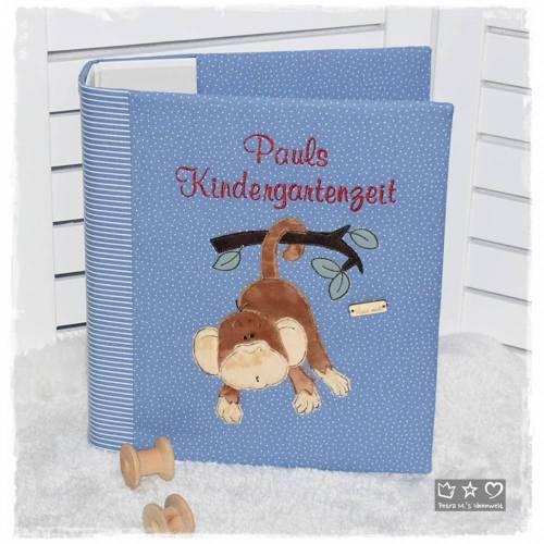 Ordner-Portfolio blau gemustert mit Doodlestickerei Affe und Wunschname