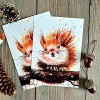 Eichhörnchen Postkarte  - Geburtstagskarte - handmade Aquarell Bildkarte Bild 1