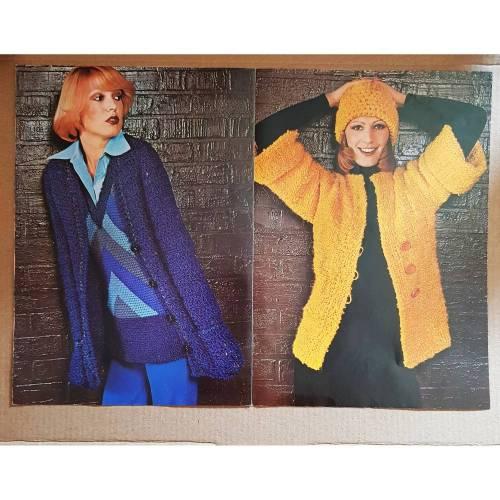 Vintage Strickanleitungen von Schöller-Wolle für Over-Pullover, Westober und Jacke, Kraftanweste, Mütze, Herrentwinset,