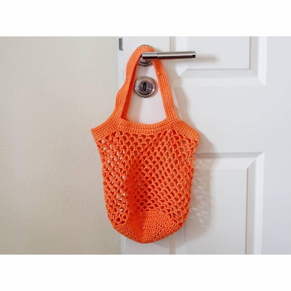 Häkeltasche Einkaufstasche Einkaufsnetz in apricot aus hochwertiger Baumwolle mit Schulterriemen gehäkelt Bild 1