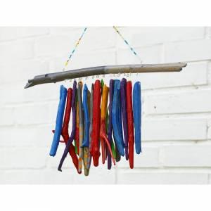 Treibholz, Windspiel bunt, extravagante Fensterdeko, Mobile, Geschenk, Wohndeko, maritim