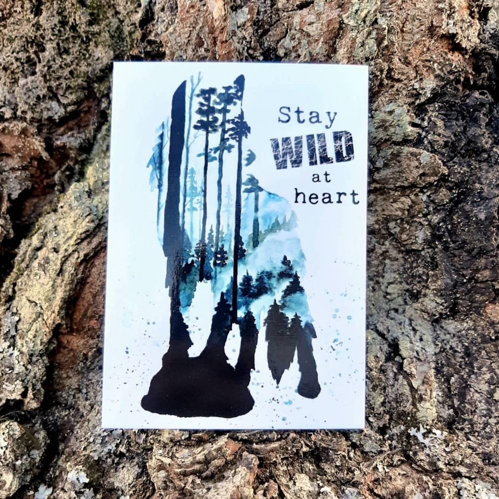 Wolf Postkarte - Stay Wild at heart - Aquarell - Grußkarte  - handgemalt Wolfkarte - Bild Bild 1