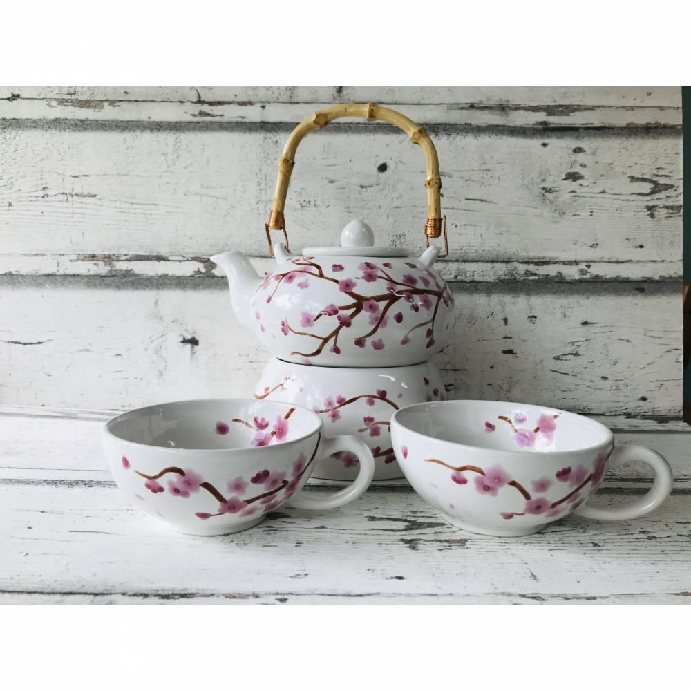 Set Teekanne, Stövchen & 2 Teetassen, Kirschblüte, Keramik handbemalt Bild 1