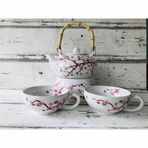 Set Teekanne, Stövchen & 2 Teetassen, Kirschblüte, Keramik handbemalt