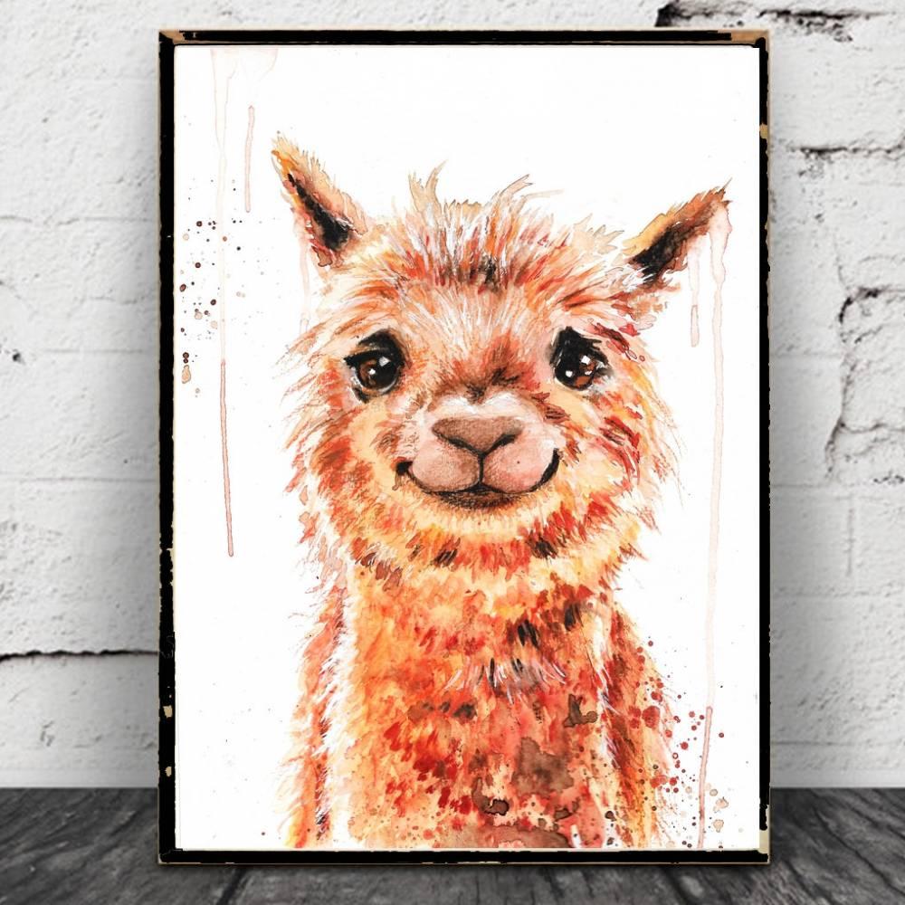 Alpaka Aquarell Poster,  Print, Smile, kawaii, Kamel, Lama, Dromedar, Kinderzimmer, Bild, Kunst, Druck Bild 1