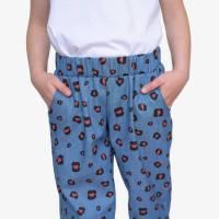 Sommerhose Schlupfhose Mädchenhose mit Leoprint jeansblau rot Bild 1