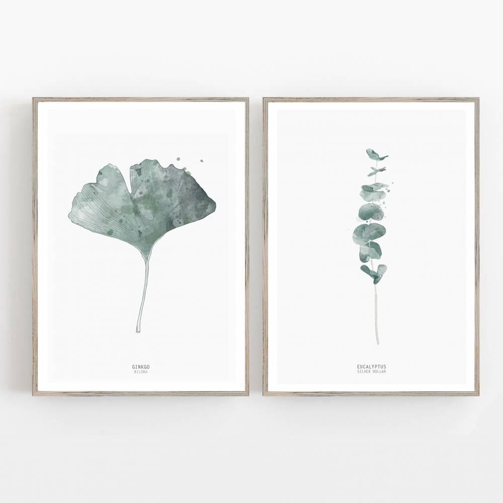 Set von zwei botanischen Kunstdrucken, Gingko Biloba Blatt und Eukalyptus Zweige, Wohnzimmer Wandkunst Bild 1