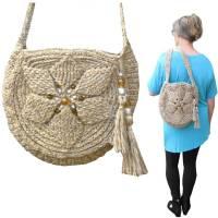 Runde Schultertasche *Blume mit Perlen* Damentasche Shopper crochet 3D flower bag, nachhaltig, Handarbeit Bild 1