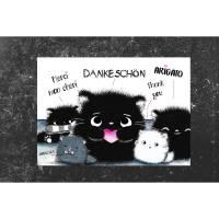 Dankeschön Postkarte Katze - Kater Moo  Grußkarte - Danke- kawaii - schwarze Katze - Dankekarte Bild 1