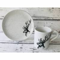 Set Tasse & Teller, Hirsch, Keramik handbemalt Bild 1