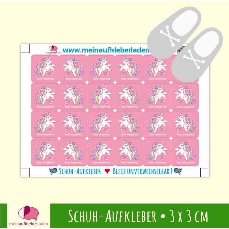 24 Schuhaufkleber | Einhorn rosa + Schutzfolie  - 3 x 3 cm Bild 1
