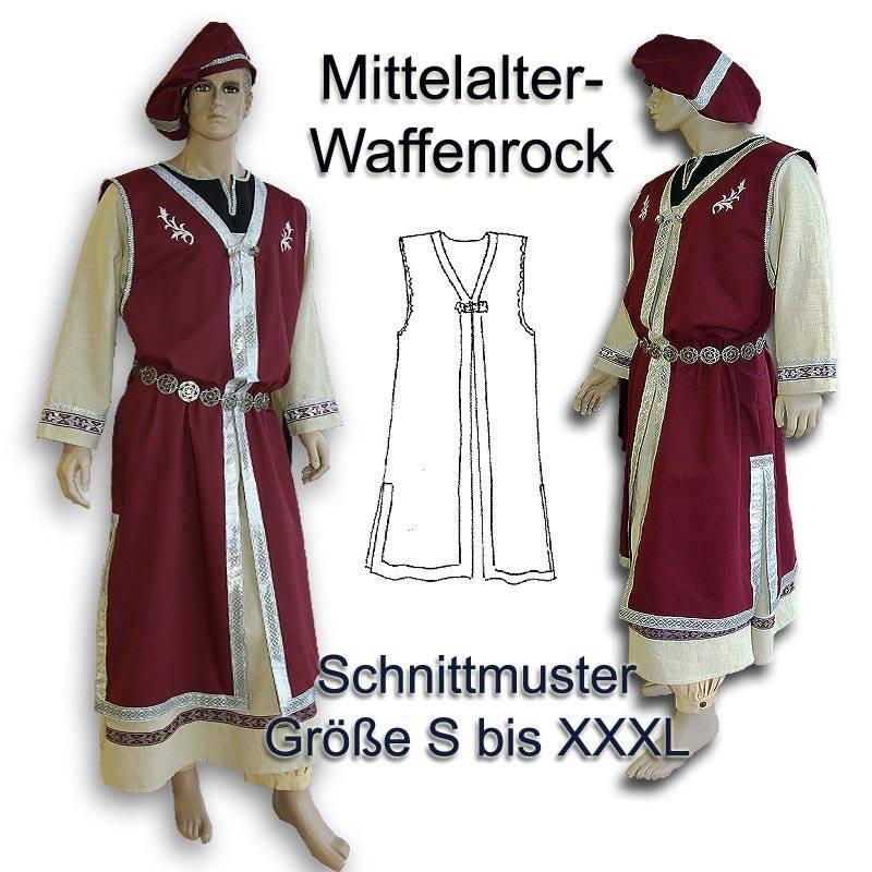 Schnitt Mittelalter Waffenrock und Barett e-book medieval robe men viking pattern hood rus Tunika Behutung Schnittmuster download Bild 1