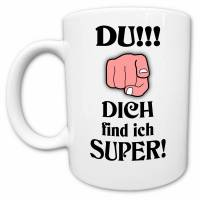 Lustige Tasse mit Spruch Dich find ich super, wundervolle Geschenke für wunderbare Menschen Bild 1