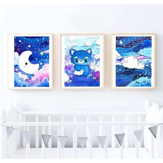 Gute Nacht Poster Aquarell, Bild, Druck, Print, Mond, Schafe, Wolf, Schäfchen, Sternenhimmel im Set Bild 1