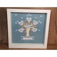 Geschenk zum Baby, Bilderrahmen, Lebensbaum zur Geburt, Junge, originelles Geschenk zur Geburt Bild 1