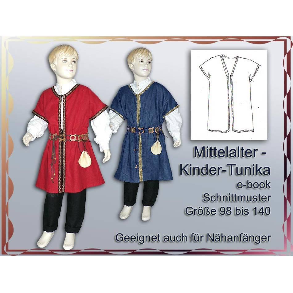 ebook pattern Schnittmuster Mittelalter Tunika für Kinder Fasching Karneval Mittelaltermarkt Gewand nähen Bild 1